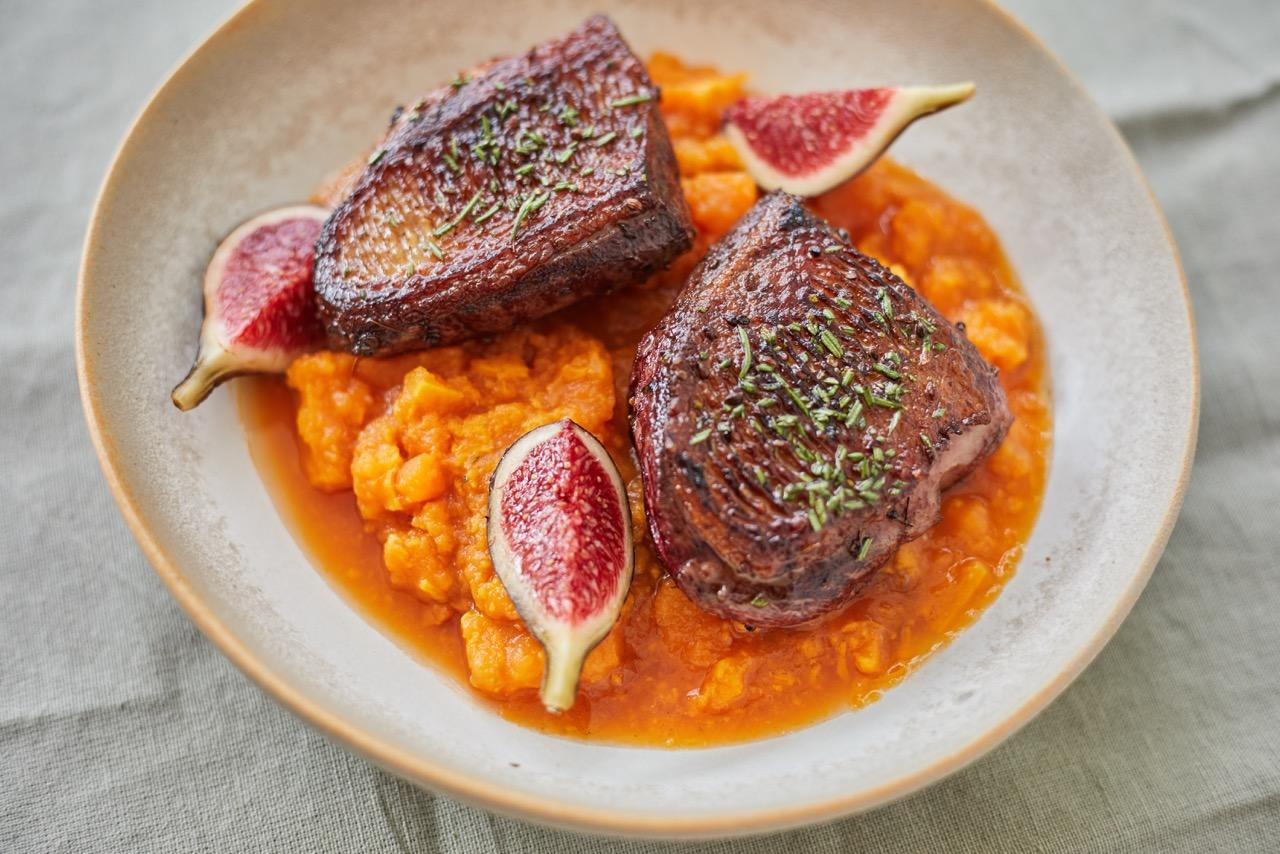 Rosemary & fennel seed glazed duck with sweet potato ragout & fresh figs
