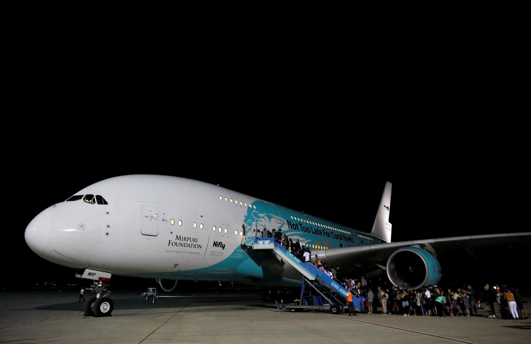 British passengers board an Airbus A380 airliner