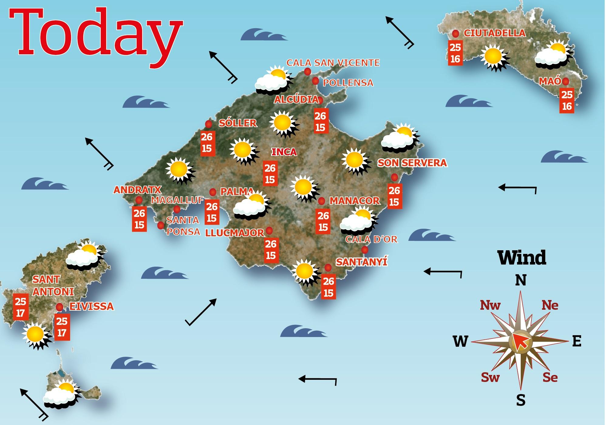 Weather map for today