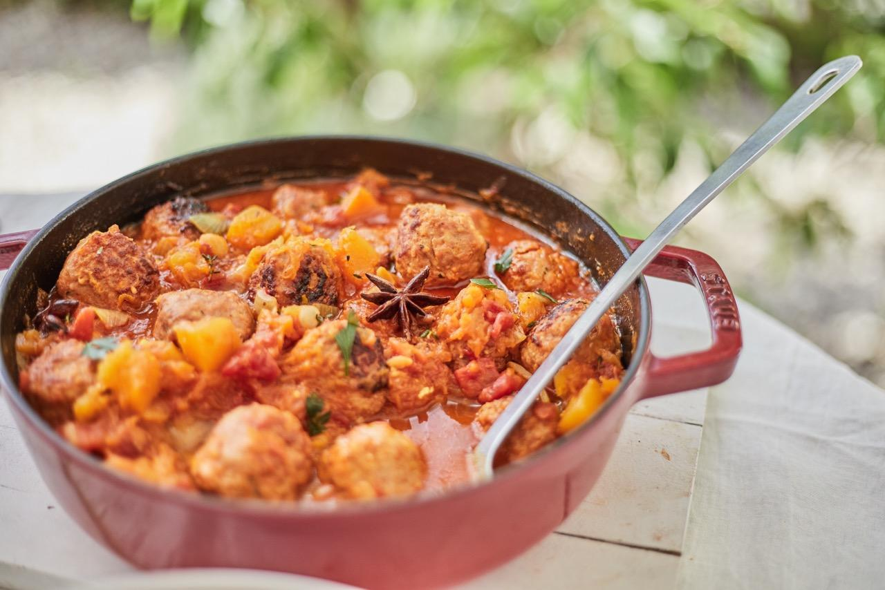 Iberian meatballs with spiced pumpkin and chickpea stew