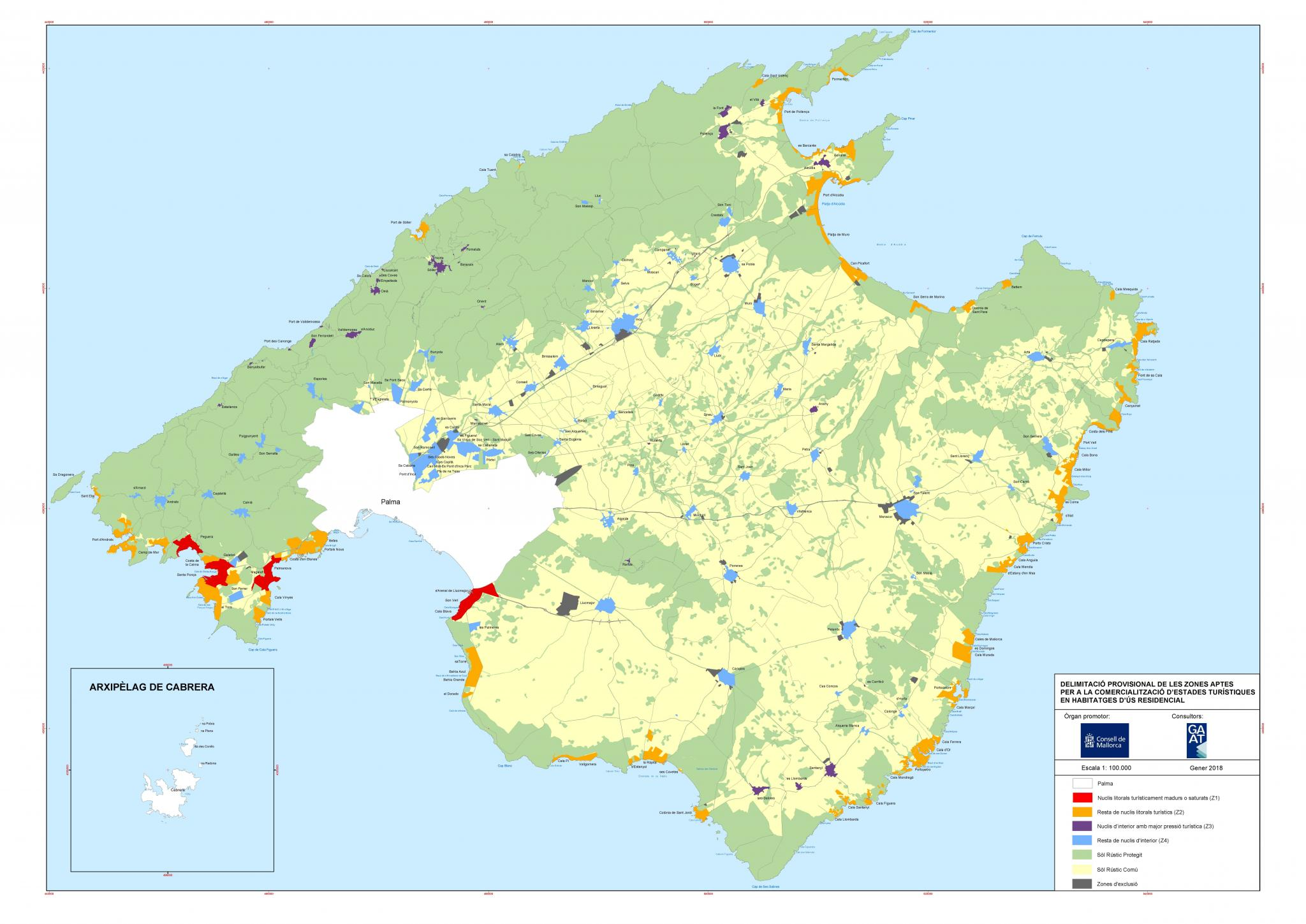The zoning map for holiday rentals Balearics News Majorca