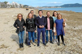 Biel Company and Llevant Councillors at Cala Nau beach.