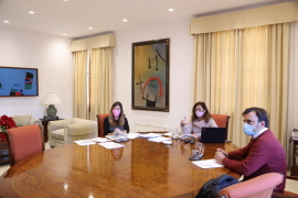 President Armengol of the Balearics during a videoconference