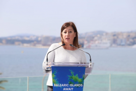 Balearic President Francina Armengol during the press conference