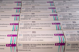 AstraZeneca COVID-19 vaccine is seen at a vaccination centre